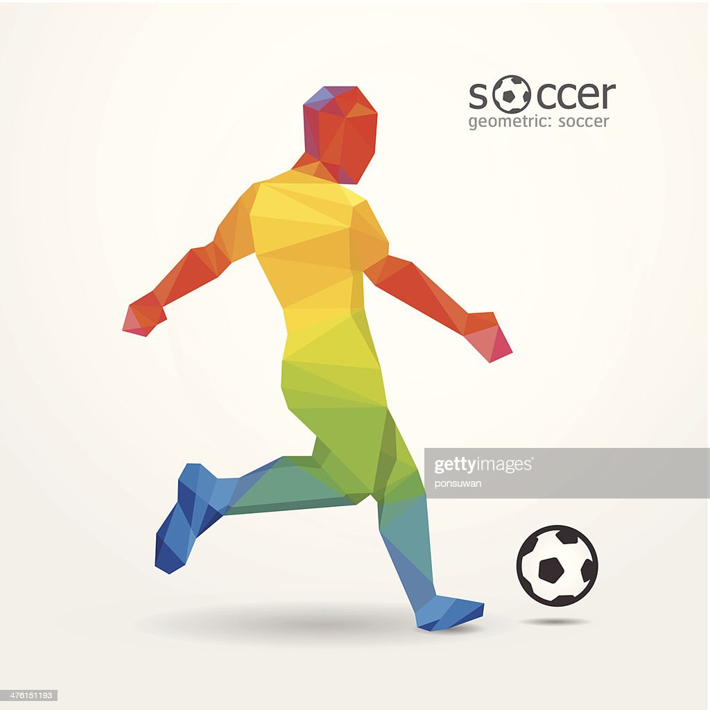 soccer football kick striker player geometric colour design.