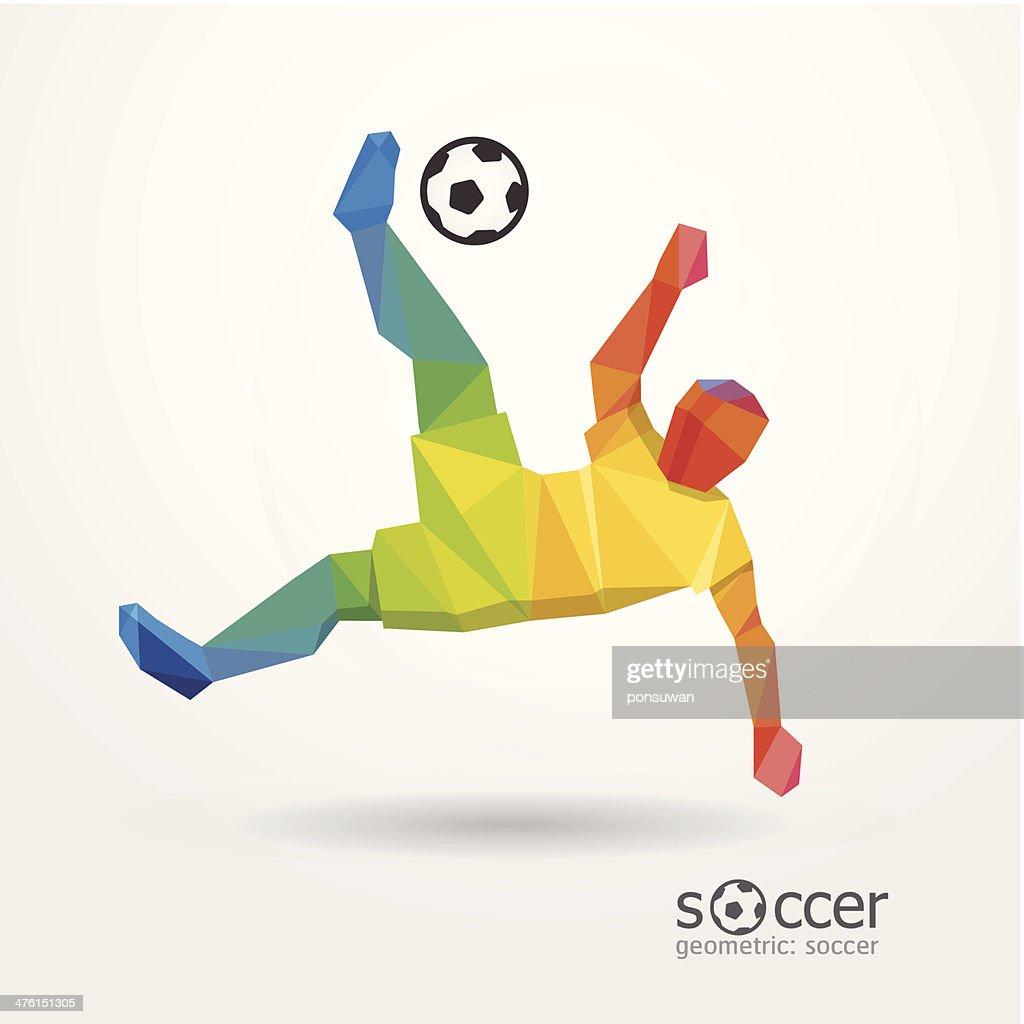 soccer football kick striker player geometric colour design.