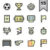 Soccer football  Line icons set