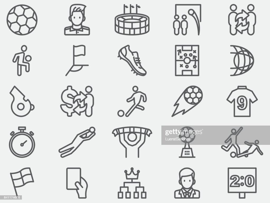 Soccer Football Line Icons : stock illustration