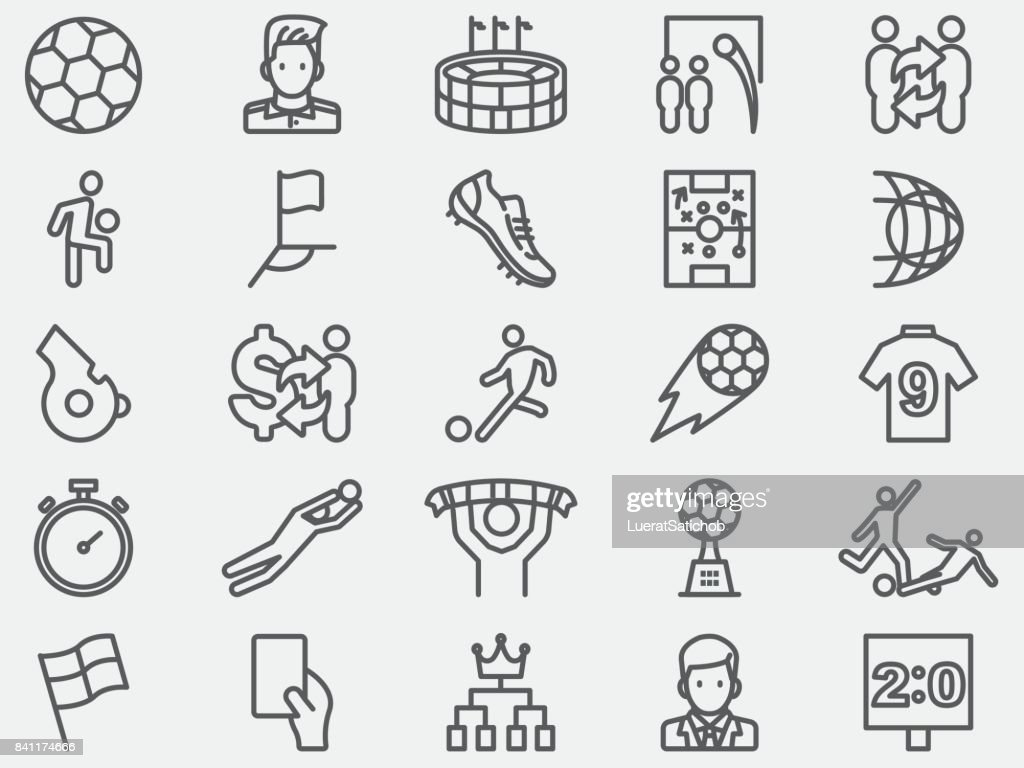 Soccer Football Line Icons