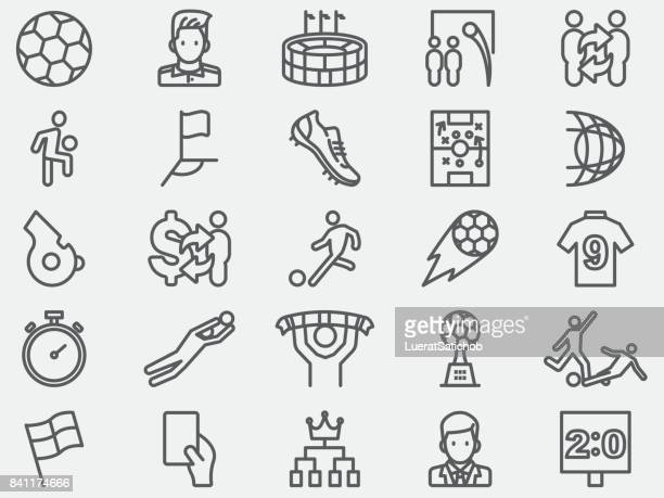 soccer football line icons - match sport stock illustrations, clip art, cartoons, & icons