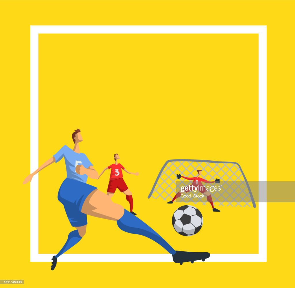 Soccer football players in abstract flat style. Template for sport poster. Vector illustration.