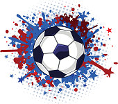 Soccer Football Red and Blue Splash
