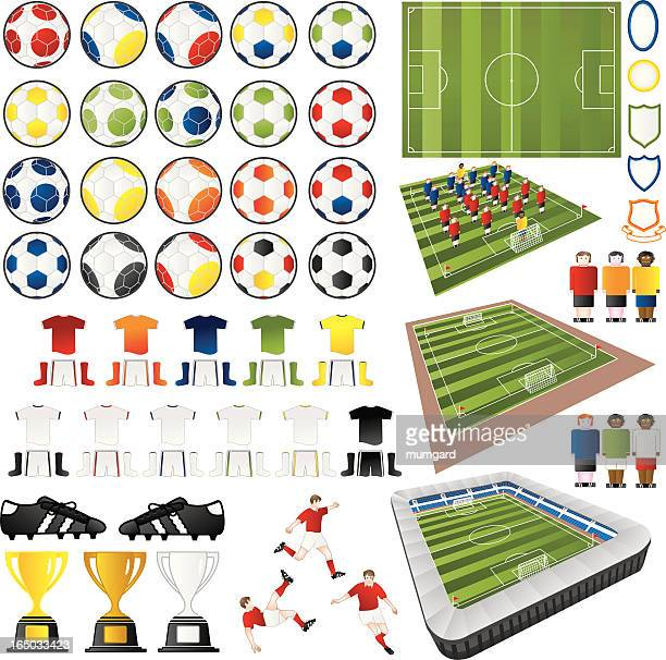 soccer football vector design elements - football field stock illustrations, clip art, cartoons, & icons