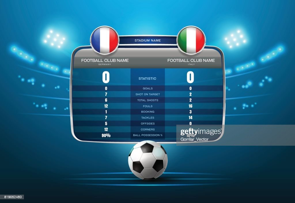 soccer football with scoreboard and spotlight