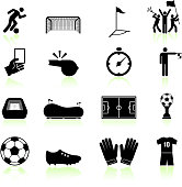 Soccer game black and white royalty free vector icon set