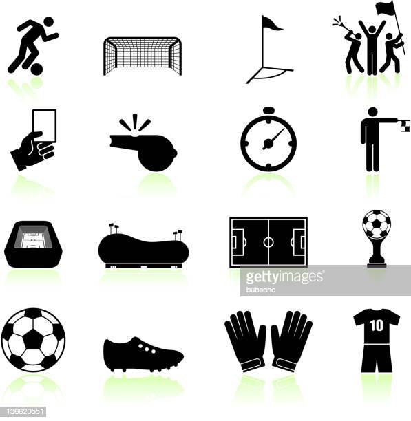 soccer game black and white royalty free vector icon set - fan enthusiast stock illustrations, clip art, cartoons, & icons