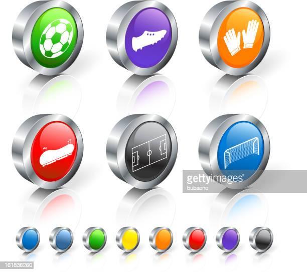 ilustraciones, imágenes clip art, dibujos animados e iconos de stock de partido de fútbol de equipo 3d vector icono conjunto con borde de metal - guantes de portero