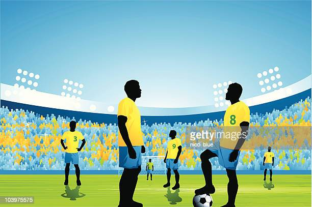 soccer game kick off - football field stock illustrations, clip art, cartoons, & icons