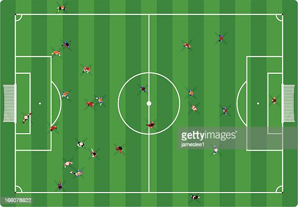 soccer game - football field stock illustrations, clip art, cartoons, & icons