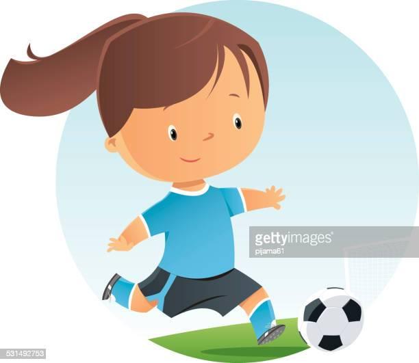 soccer girl - drive ball sports stock illustrations, clip art, cartoons, & icons
