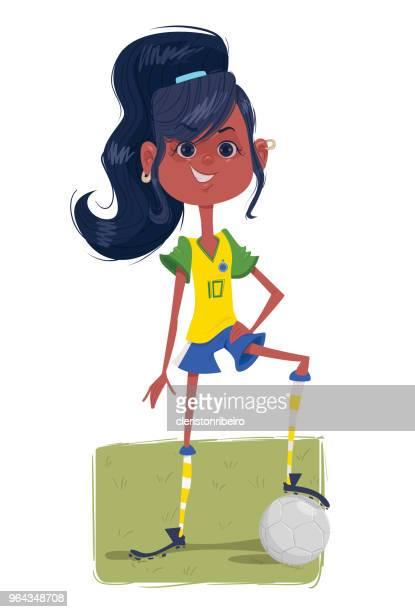 ilustrações de stock, clip art, desenhos animados e ícones de soccer girl - futebol infantil