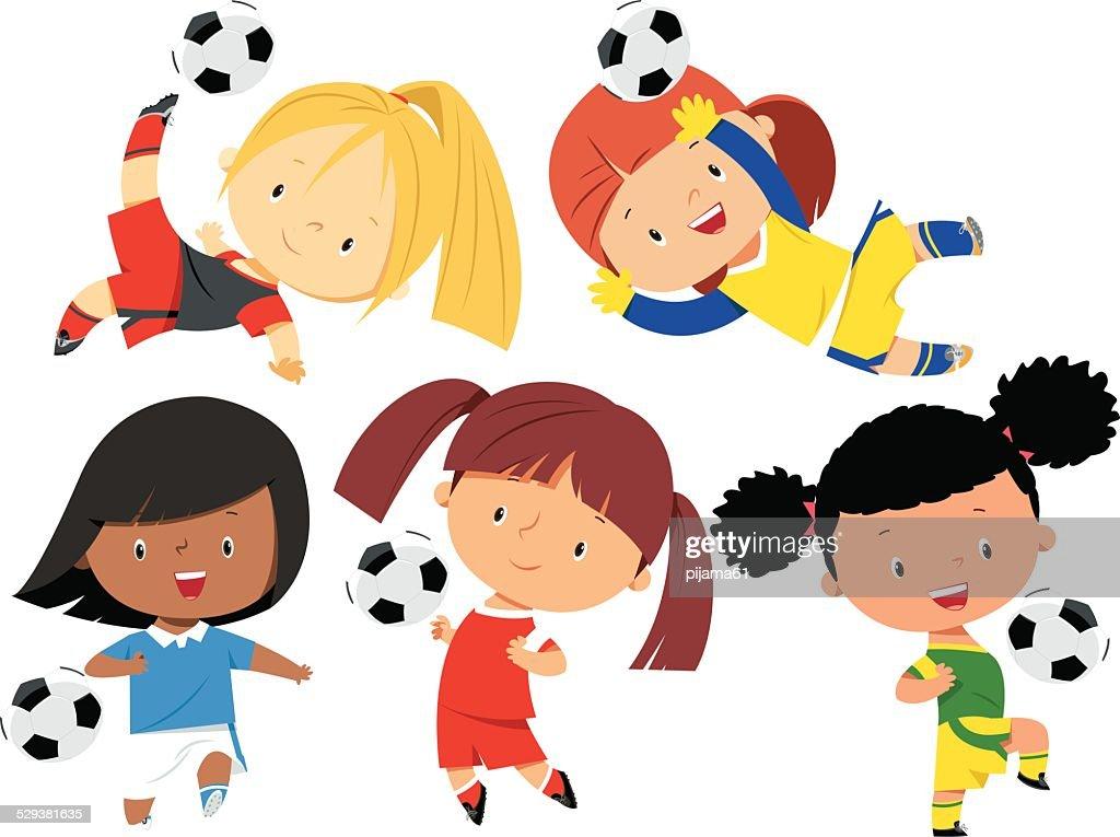 Soccer Girls : stock illustration