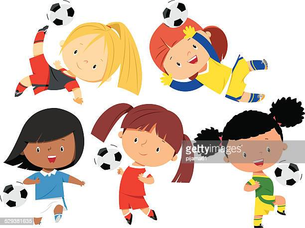 soccer girls - messing about stock illustrations