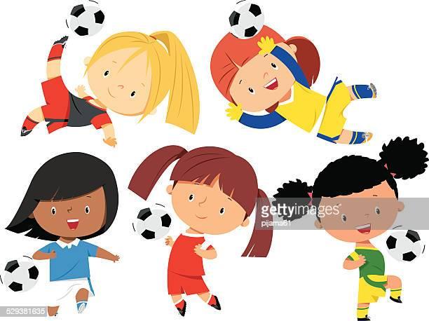 illustrations, cliparts, dessins animés et icônes de filles de football - petites filles