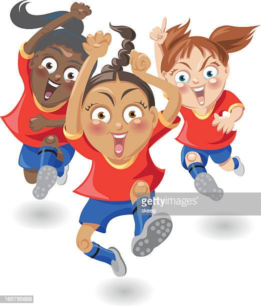 soccer girls victory - women's track stock illustrations, clip art, cartoons, & icons