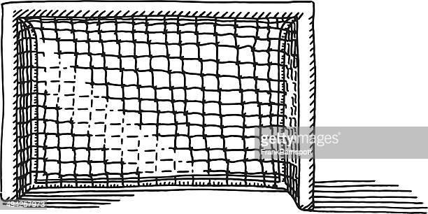soccer goal drawing - goal post stock illustrations