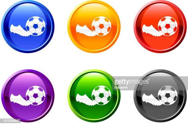 ilustraciones, imágenes clip art, dibujos animados e iconos de stock de gol de fútbol botón de arte vectorial libre de derechos - cancha futbol