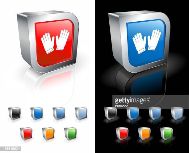 ilustraciones, imágenes clip art, dibujos animados e iconos de stock de guantes de portero de fútbol 3d de arte vectorial libre de derechos - guantes de portero