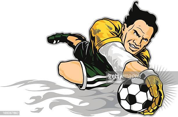soccer goalie - heading the ball stock illustrations