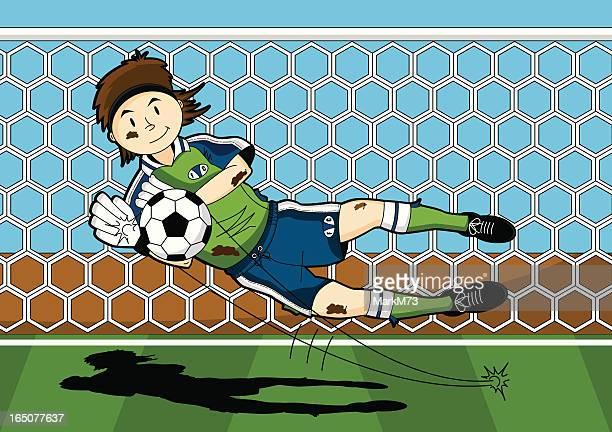 ilustraciones, imágenes clip art, dibujos animados e iconos de stock de pena portero de fútbol bajo - guantes de portero