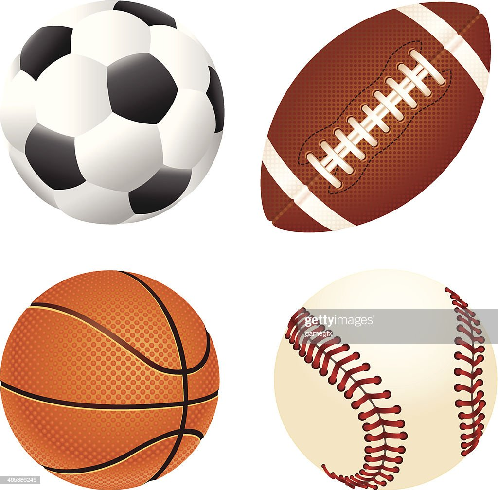 Soccer, gridiron, basketball and baseball balls