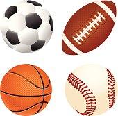 Soccer, gridiron, basketball and baseball balls