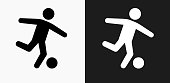 Soccer Icon on Black and White Vector Backgrounds