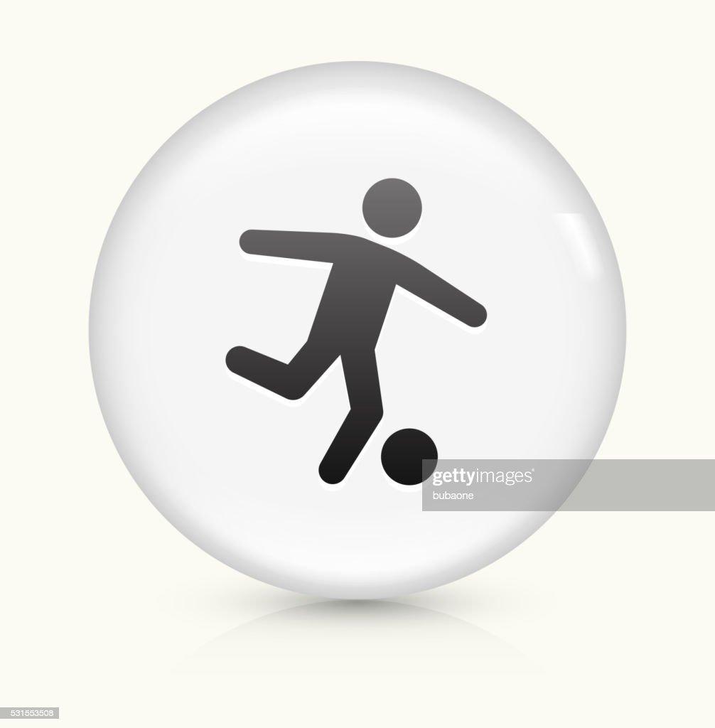 Fussball Symbol Auf Weisser Runder Vektor Knopf Vektorgrafik