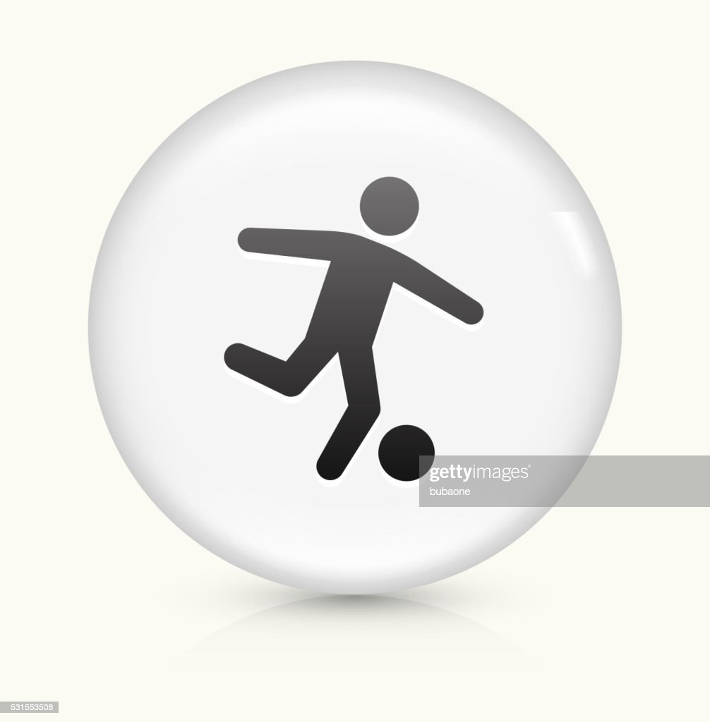 Soccer icon on white round vector button