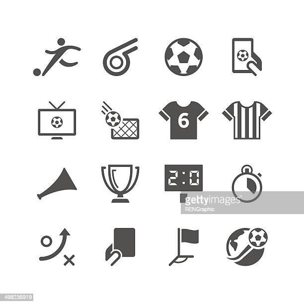 soccer icon set | unique series - football stock illustrations, clip art, cartoons, & icons