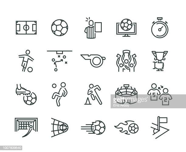 soccer icon set - sports ball stock illustrations