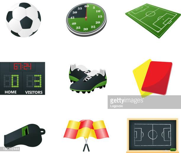 soccer icons and symbols - whistle blackboard stock illustrations