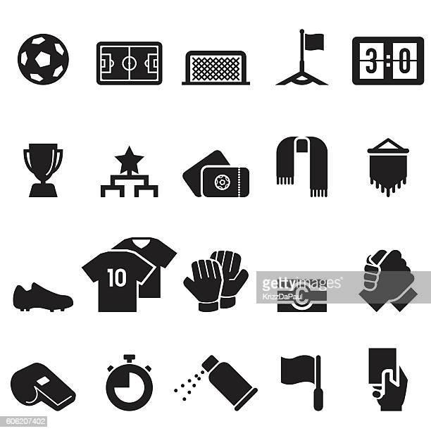 ilustraciones, imágenes clip art, dibujos animados e iconos de stock de soccer icons [black edition] - guantes de portero