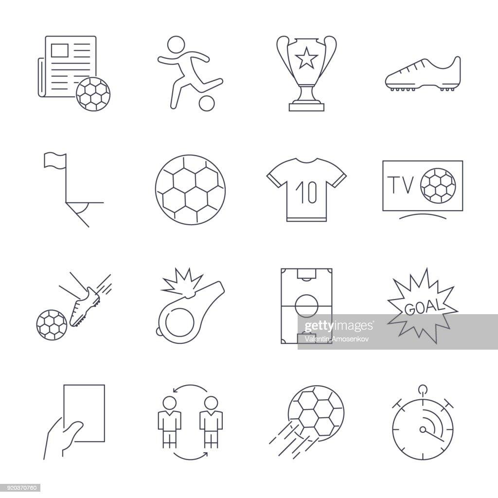 Soccer Icons set. Editable Stroke.