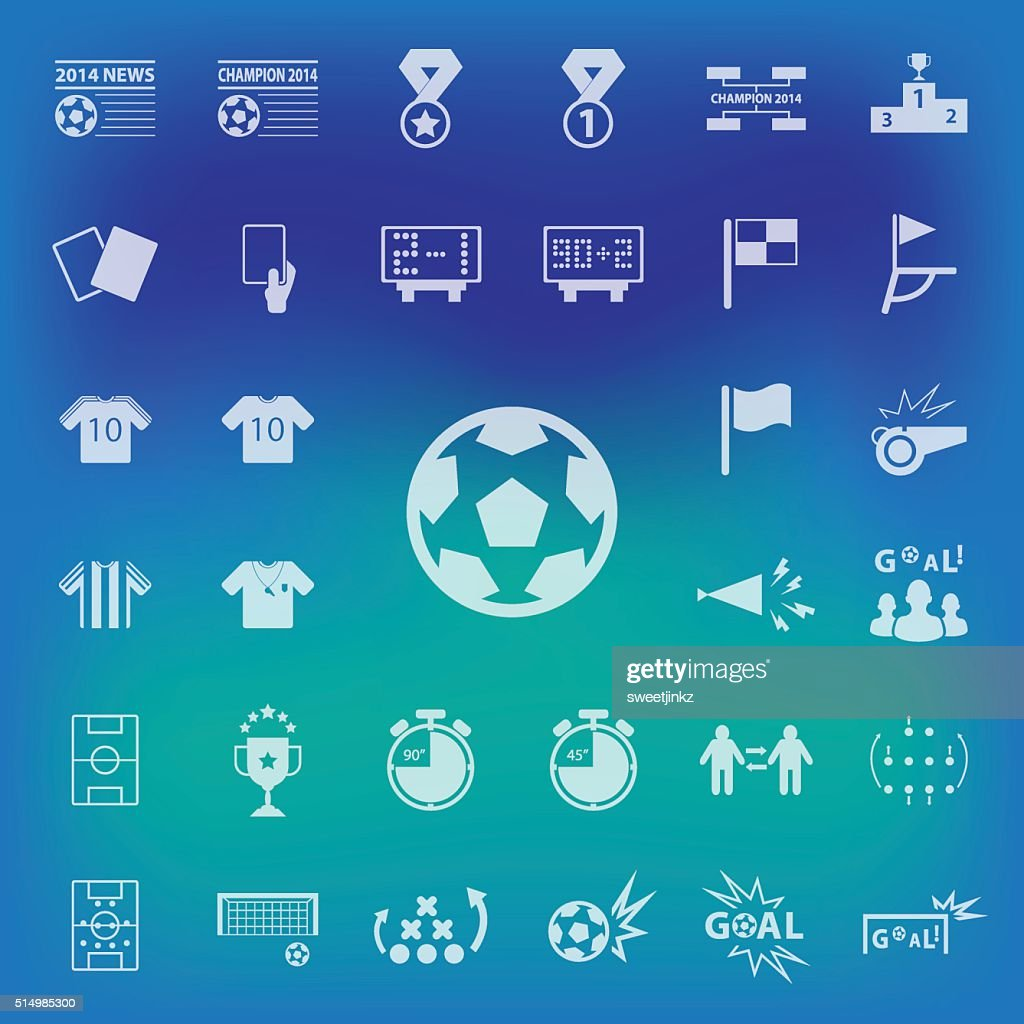 Soccer Icons set on blur background. vector , illustration.