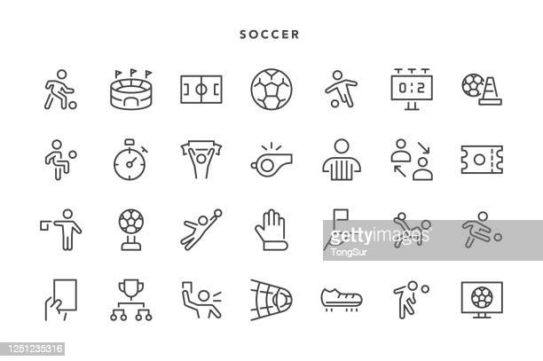 soccer icons - heading the ball stock illustrations