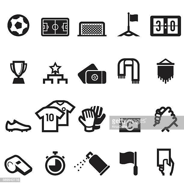 ilustraciones, imágenes clip art, dibujos animados e iconos de stock de iconos de fútbol - guantes de portero