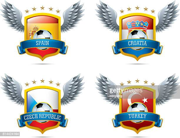 soccer icons with shield and wings - croatian flag stock illustrations, clip art, cartoons, & icons