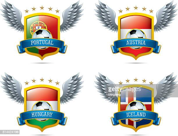 Soccer Icons with Shield and Wings
