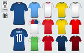 Soccer jersey, football kit, t-shirt sport  template design for sport club. Football t-shirt mock up. Front and back view soccer uniform. Sportswear Catalog. Vector