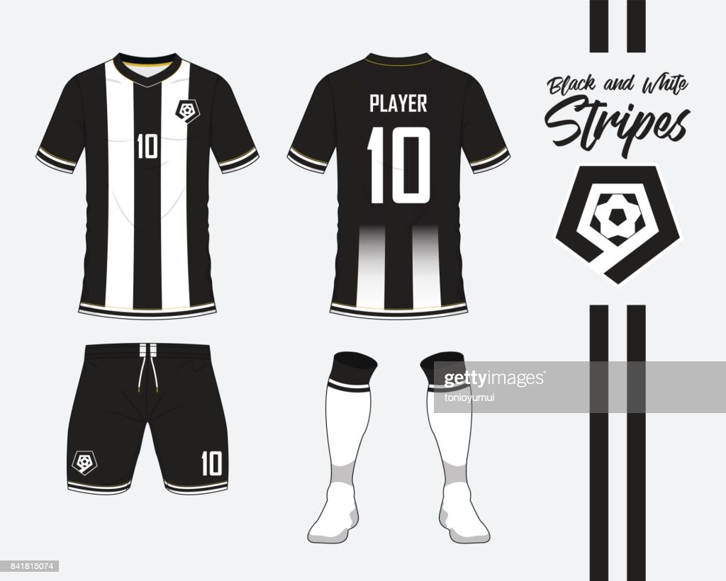Soccer jersey or football kit collection in black and white stripes concept. Football shirt mock up. Front and back view soccer uniform. Football logo in flat design. Vector