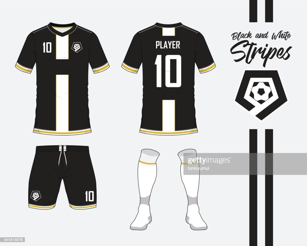 Soccer jersey or football kit collection in black and white stripes concept. Football shirt mock up. Front and back view soccer uniform. Football logo in flat design. Vector.