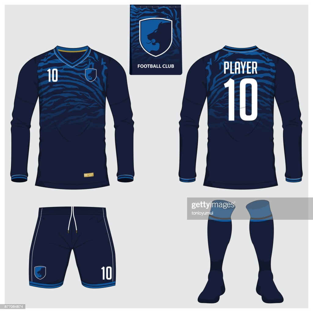 Soccer jersey or football kit, long sleeve, short, sock template for sport club. Tiger stripes football t-shirt mock up. Front, back view soccer uniform. Flat football symbol label. Vector