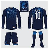 Soccer jersey or football kit, long sleeve, short, sock template for sport club. Tiger stripes football t-shirt mock up. Front, back view soccer uniform. Flat football symbol label. Vector