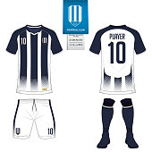 Soccer jersey or football kit, short, sock template for sport club. Football t-shirt mock up. Front and back view soccer uniform. Flat football logo on blue label. Vector.