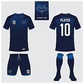 Soccer jersey or football kit, short, sock template for sport club. Football t-shirt mock up. Front and back view soccer uniform. Flat football icon on blue label. Vector.