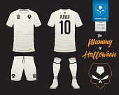 Soccer jersey or football kit template in Mummy in Halloween concept. Football shirt mock up. Front and back view soccer uniform. Football logo on label in flat design. Vector