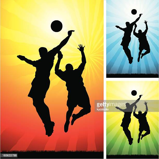 soccer - jumping for the ball - heading the ball stock illustrations